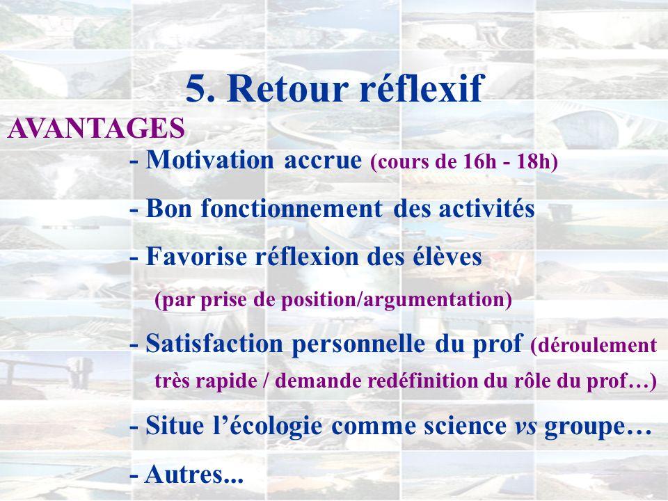 4. Le déroulement 4) SYNTHÈSE (variable) i) Opinion argumentée écologiquement… (en classe ou à la maison) ii) Retour et rétroaction sur le travail