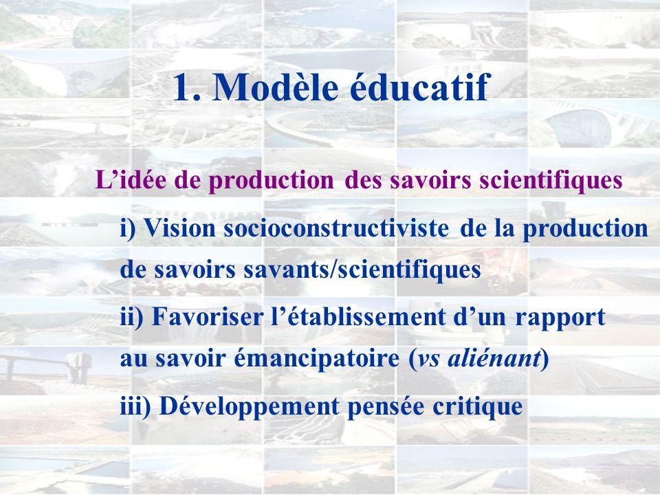 1. Modèle éducatif A) FINALITÉS i) Éducation à la citoyenneté ii) Construction/intégration connaissances disciplinaires pour vie profession./sociale i