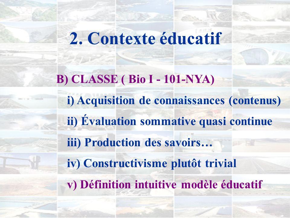 2. Contexte éducatif A) INSTITUTION i) Projet éducatif [… développer compétences nécessaires à lexercice des rôles économiques et sociaux…] ii) Scienc