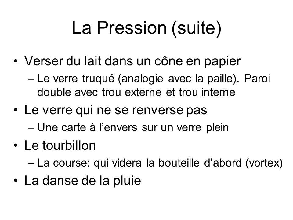 La Pression (suite) Verser du lait dans un cône en papier –Le verre truqué (analogie avec la paille). Paroi double avec trou externe et trou interne L