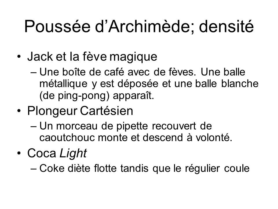 Poussée dArchimède; densité Jack et la fève magique –Une boîte de café avec de fèves. Une balle métallique y est déposée et une balle blanche (de ping