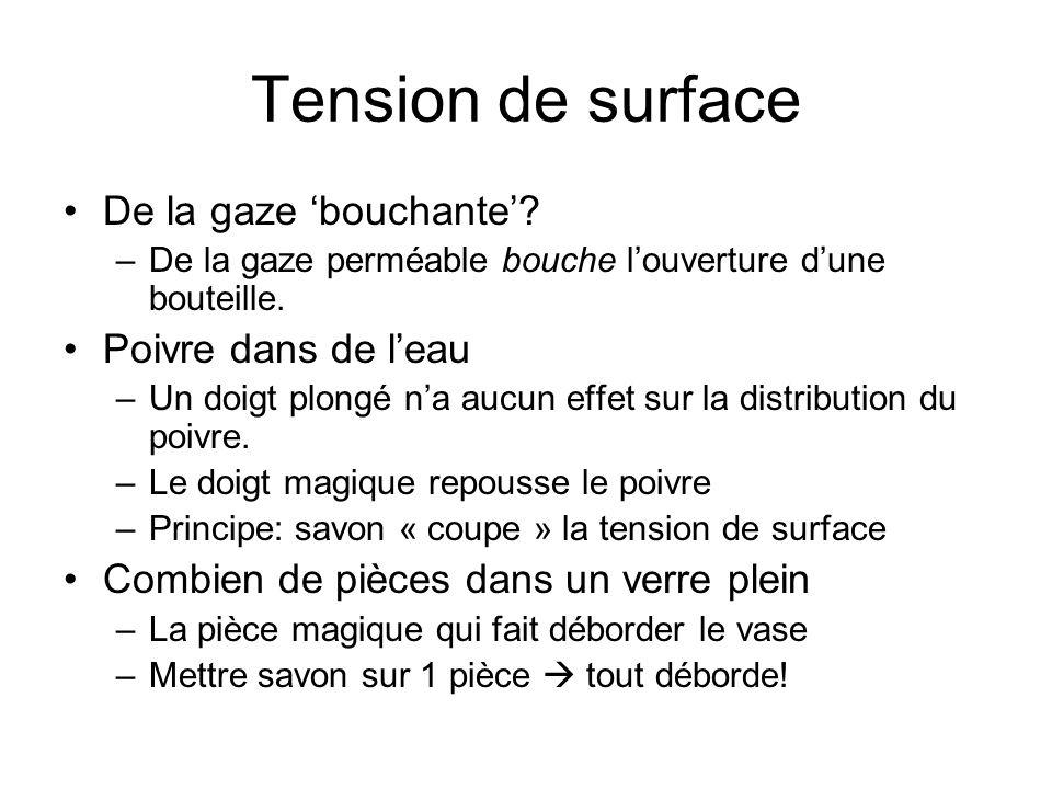 Tension de surface De la gaze bouchante? –De la gaze perméable bouche louverture dune bouteille. Poivre dans de leau –Un doigt plongé na aucun effet s