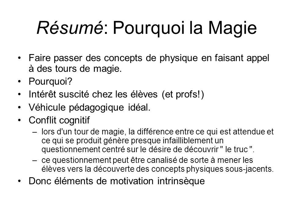 Résumé: Pourquoi la Magie Faire passer des concepts de physique en faisant appel à des tours de magie. Pourquoi? Intérêt suscité chez les élèves (et p