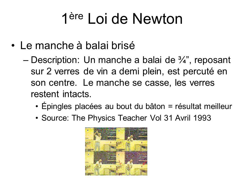 1 ère Loi de Newton Le manche à balai brisé –Description: Un manche a balai de ¾, reposant sur 2 verres de vin a demi plein, est percuté en son centre