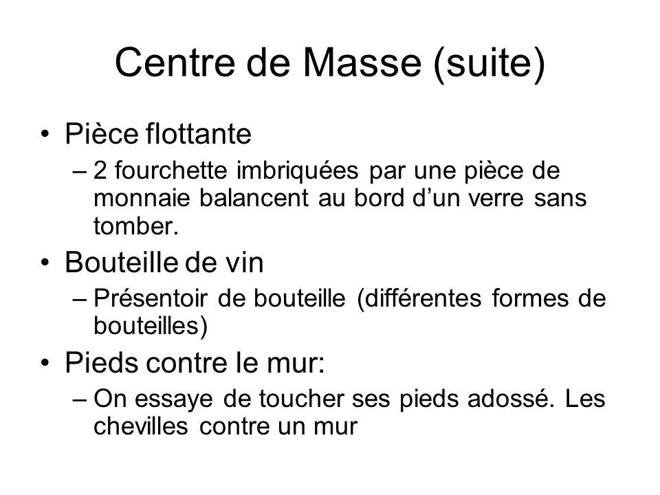 Centre de Masse (suite) Pièce flottante –2 fourchette imbriquées par une pièce de monnaie balancent au bord dun verre sans tomber. Bouteille de vin –P