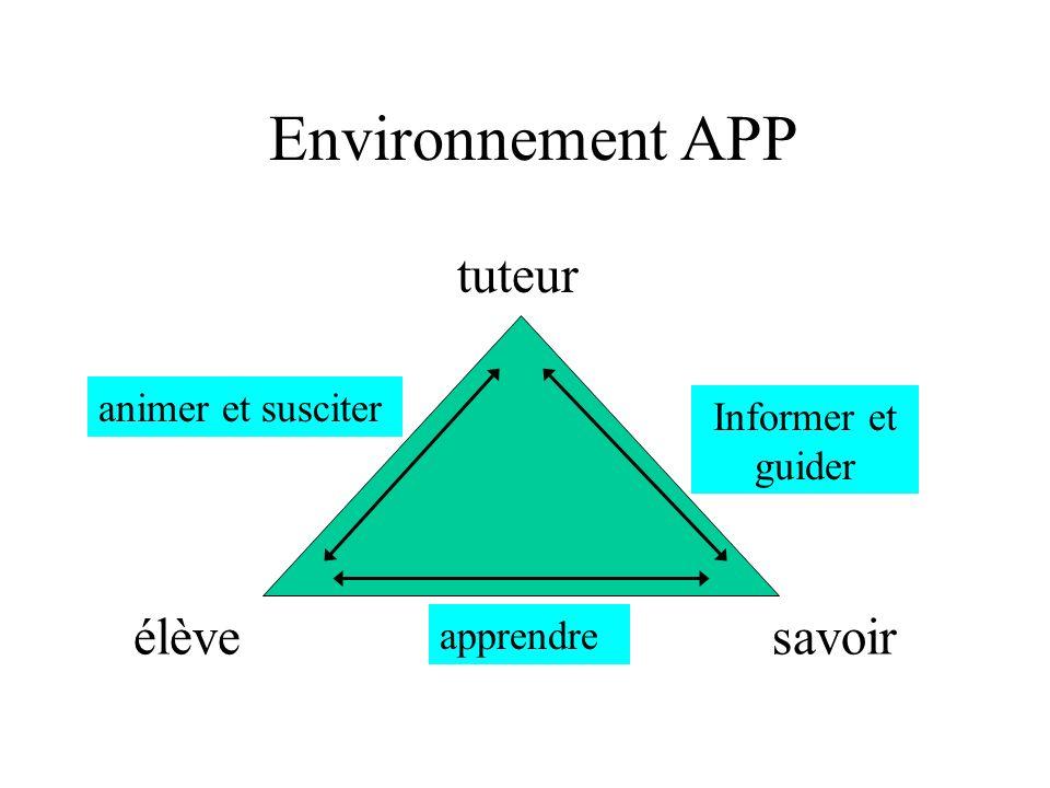 Environnement APP savoir tuteur élève Informer et guider animer et susciter apprendre
