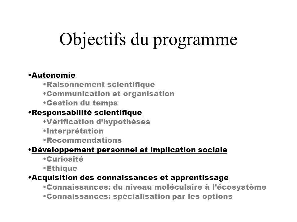 Objectifs du programme Autonomie Raisonnement scientifique Communication et organisation Gestion du temps Responsabilité scientifique Vérification dhy