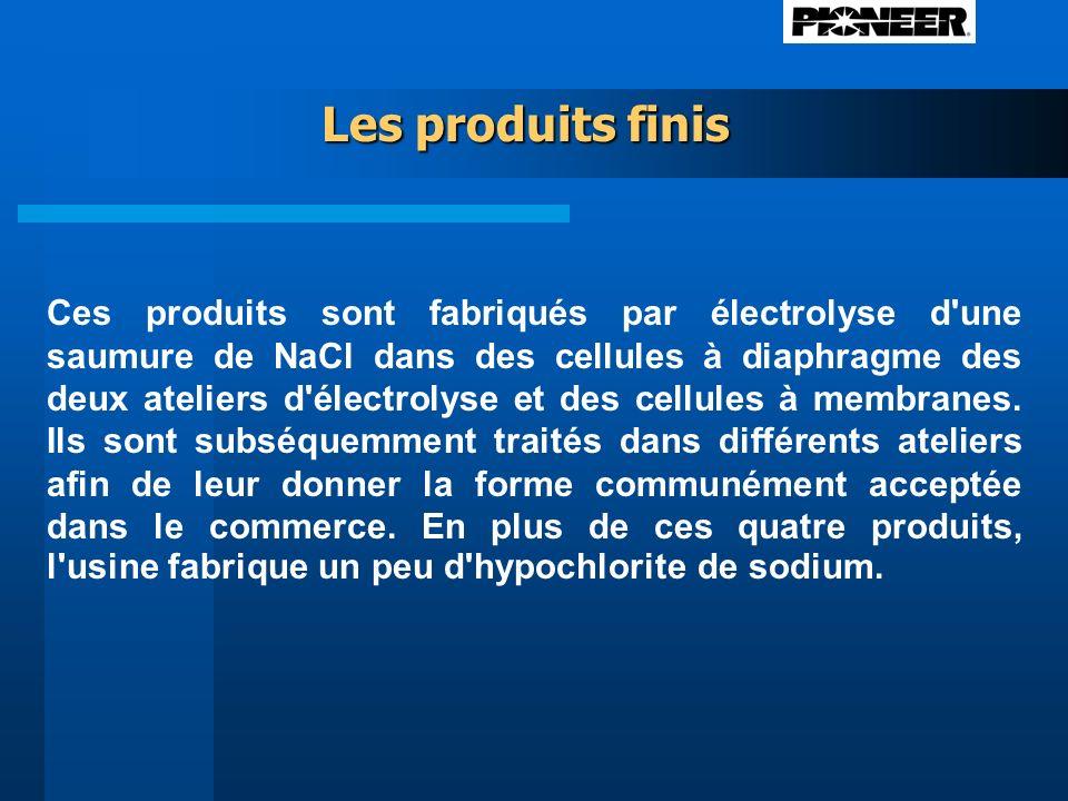 Ces produits sont fabriqués par électrolyse d une saumure de NaCl dans des cellules à diaphragme des deux ateliers d électrolyse et des cellules à membranes.