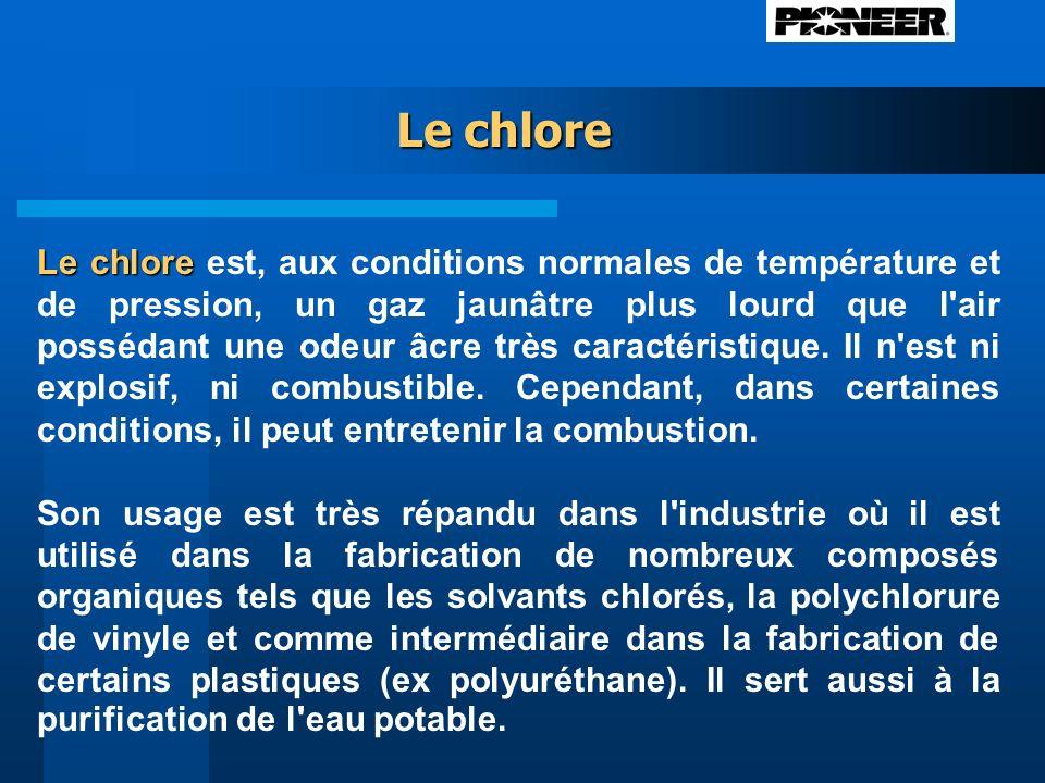 Le chlore Le chlore Le chlore est, aux conditions normales de température et de pression, un gaz jaunâtre plus lourd que l air possédant une odeur âcre très caractéristique.