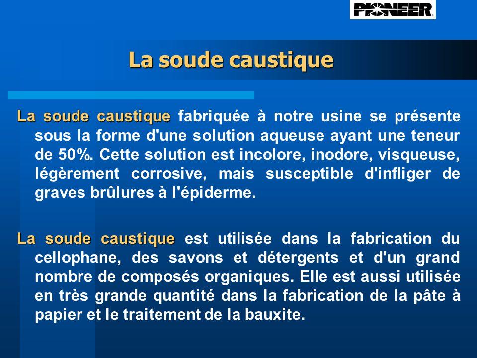 La soude caustique La soude caustique La soude caustique fabriquée à notre usine se présente sous la forme d une solution aqueuse ayant une teneur de 50%.