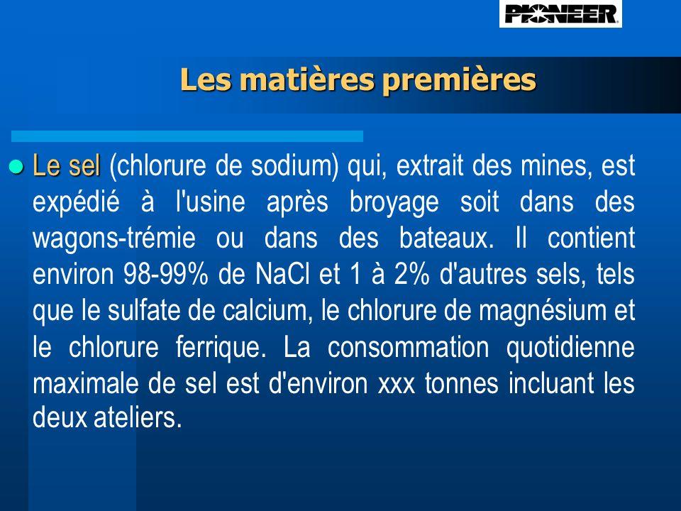 Les matières premières Le sel Le sel (chlorure de sodium) qui, extrait des mines, est expédié à l usine après broyage soit dans des wagons-trémie ou dans des bateaux.