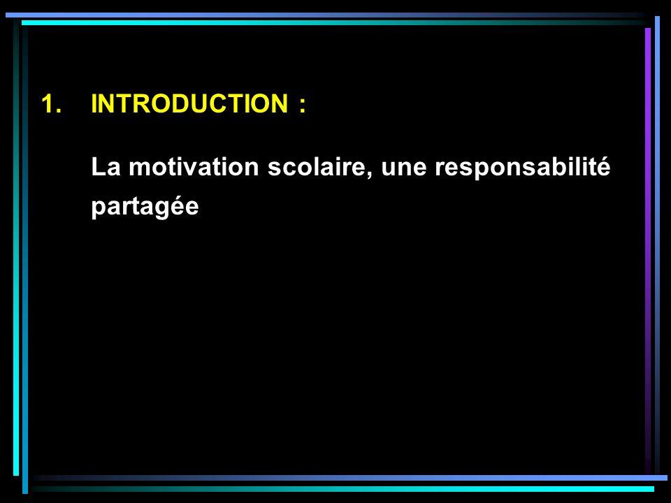 1.INTRODUCTION : La motivation scolaire, une responsabilité partagée