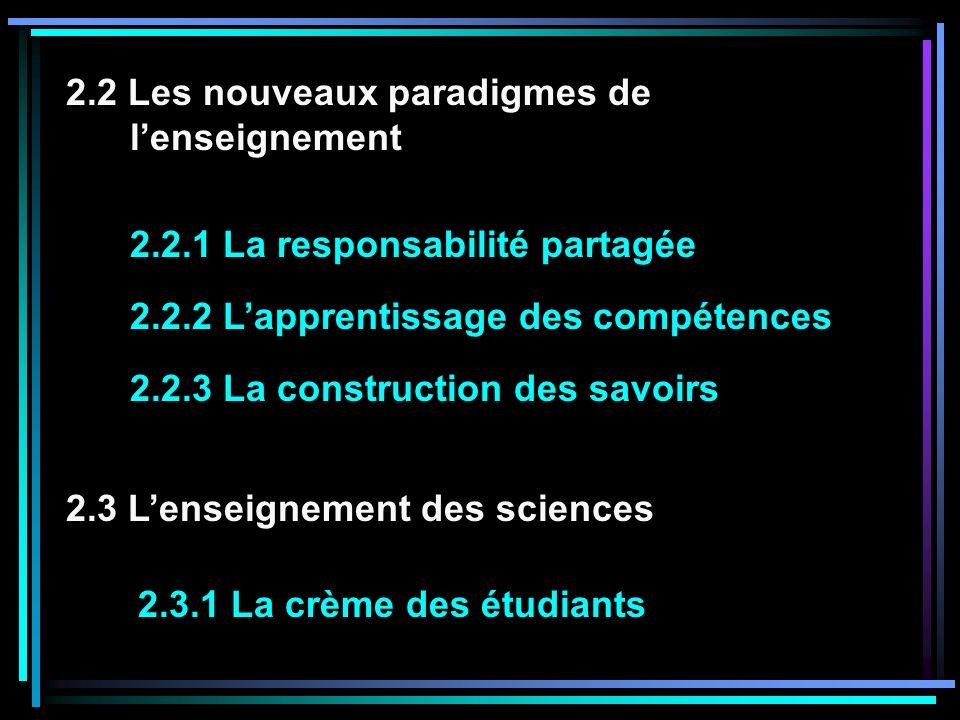 2.3.1 La crème des étudiants 2.3 Lenseignement des sciences 2.2.2 Lapprentissage des compétences 2.2.3 La construction des savoirs 2.2 Les nouveaux paradigmes de lenseignement 2.2.1 La responsabilité partagée