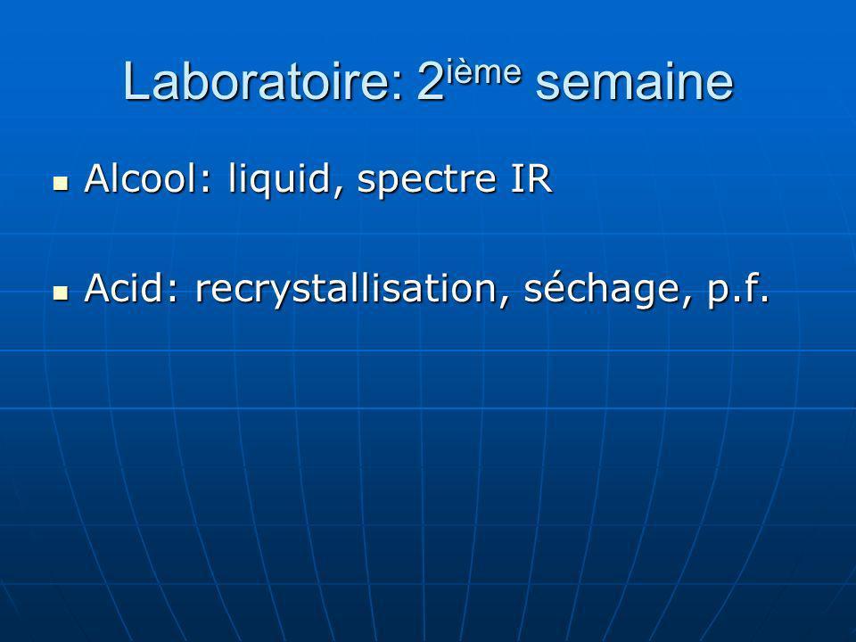 Laboratoire: 2 ième semaine Alcool: liquid, spectre IR Alcool: liquid, spectre IR Acid: recrystallisation, séchage, p.f. Acid: recrystallisation, séch