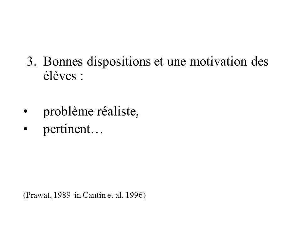 3. Bonnes dispositions et une motivation des élèves : problème réaliste, pertinent… (Prawat, 1989 in Cantin et al. 1996)