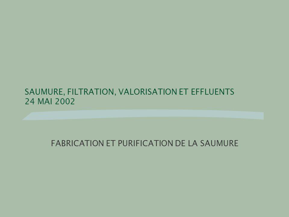 SAUMURE, FILTRATION, VALORISATION ET EFFLUENTS 24 MAI 2002 FABRICATION ET PURIFICATION DE LA SAUMURE