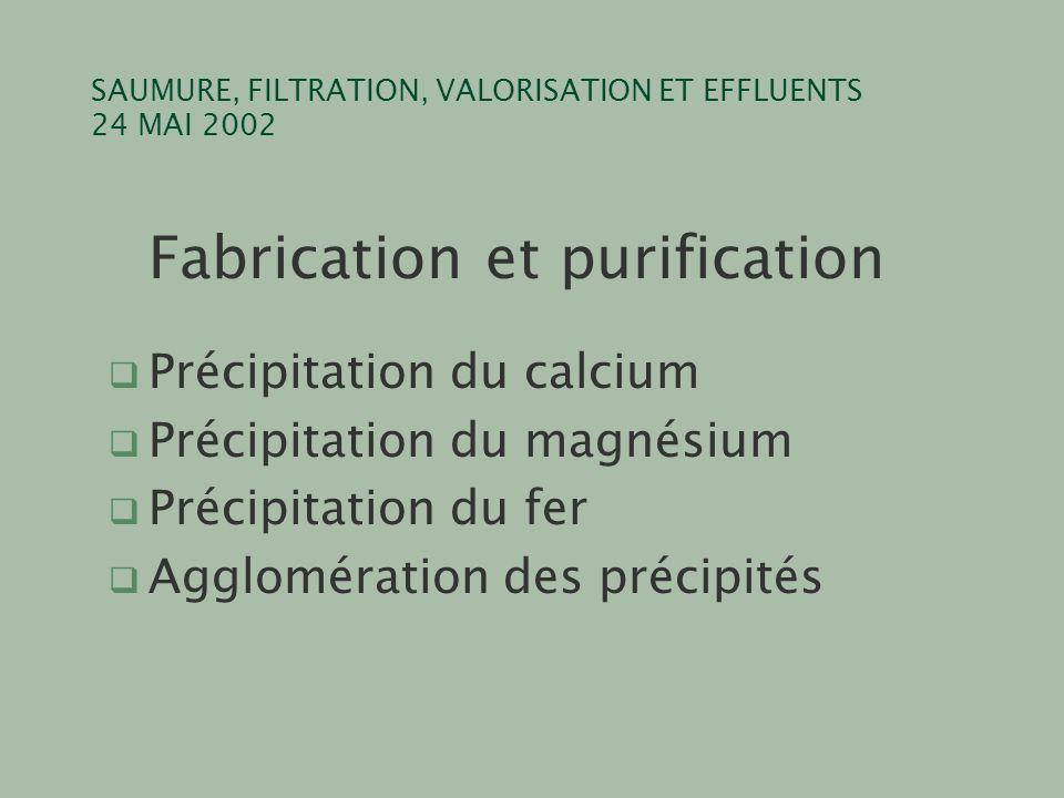 SAUMURE, FILTRATION, VALORISATION ET EFFLUENTS 24 MAI 2002 Fabrication et purification q Précipitation du calcium q Précipitation du magnésium q Préci