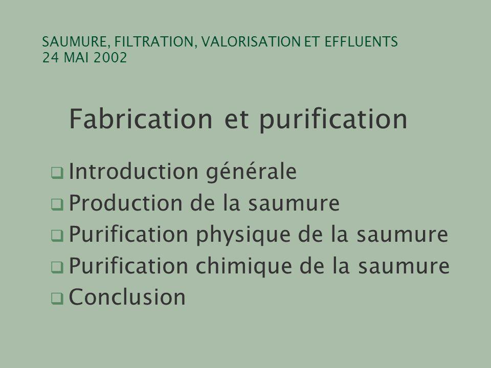 SAUMURE, FILTRATION, VALORISATION ET EFFLUENTS 24 MAI 2002 CaCl 2 Na 2 CO 3 CaCO 3 2NaCl MgCl 2 2NaOHMg(OH) 2 2NaCl FeCl 3 3NaOHFe(OH) 3 3NaCl CaSO 4 Na 2 CO 3 CaCO 3 Na 2 SO 4 RÉACTIFSPRODUITS précipitation du calcium précipitation du magnésium précipitation du fer