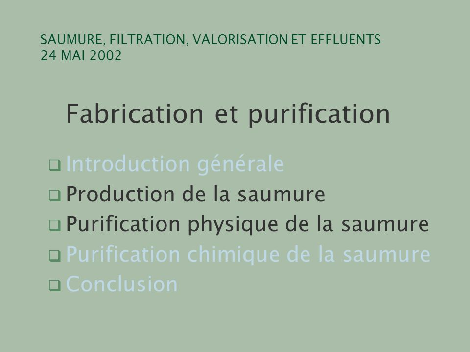 SAUMURE, FILTRATION, VALORISATION ET EFFLUENTS 24 MAI 2002 Fabrication et purification q Introduction générale q Production de la saumure q Purification physique de la saumure q Purification chimique de la saumure q Conclusion