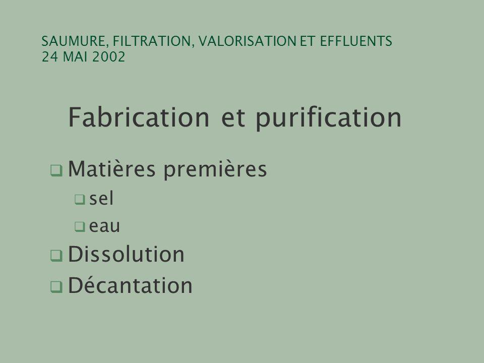 SAUMURE, FILTRATION, VALORISATION ET EFFLUENTS 24 MAI 2002 Fabrication et purification q Matières premières q sel q eau q Dissolution q Décantation
