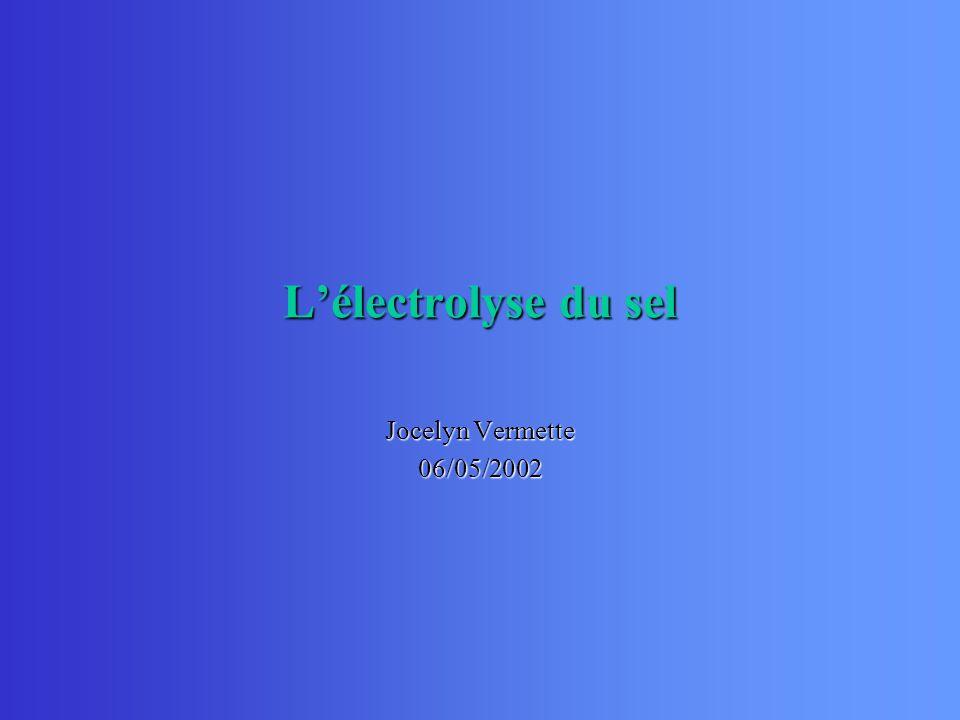 Lélectrolyse du sel Jocelyn Vermette 06/05/2002
