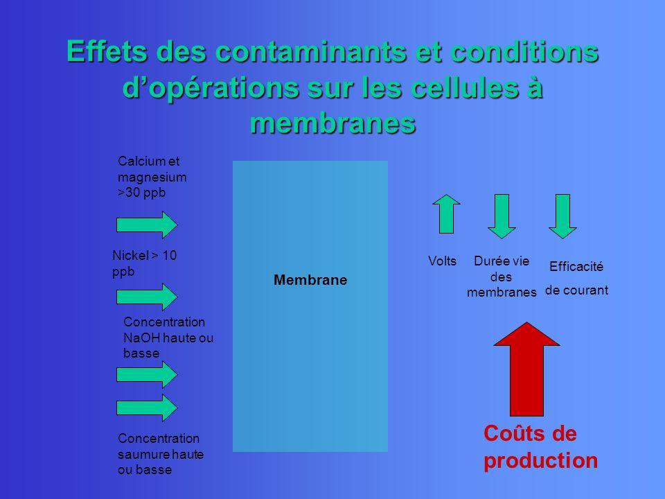 Membrane Calcium et magnesium >30 ppb Concentration saumure haute ou basse Nickel > 10 ppb Volts Efficacité de courant Durée vie des membranes Coûts d