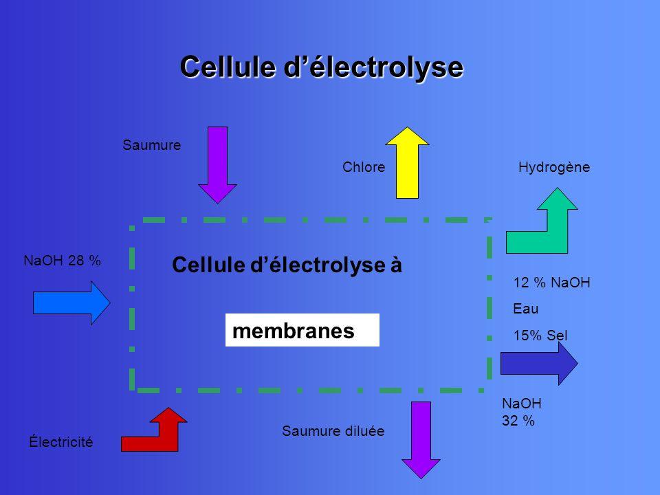 Cellule délectrolyse Cellule délectrolyse à diaphragmemembranes Électricité Saumure ChloreHydrogène 12 % NaOH Eau 15% Sel NaOH 28 % NaOH 32 % Saumure
