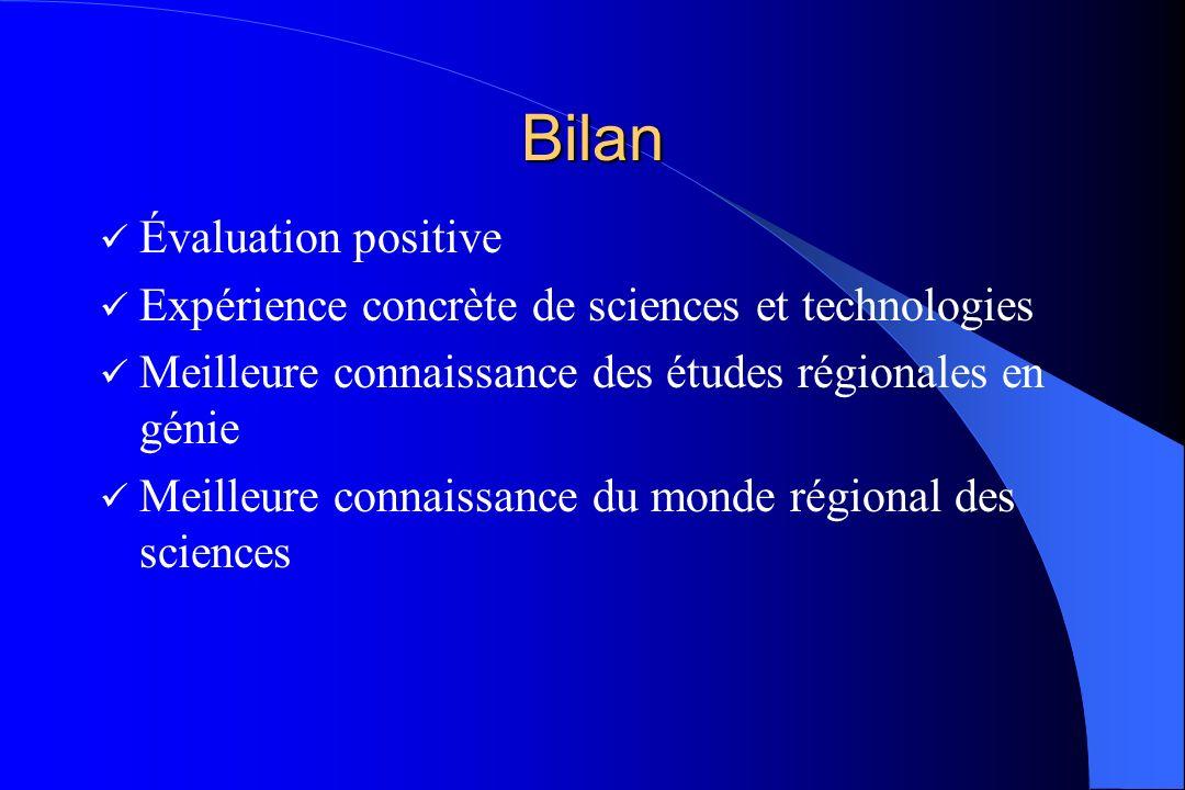 Bilan Évaluation positive Expérience concrète de sciences et technologies Meilleure connaissance des études régionales en génie Meilleure connaissance