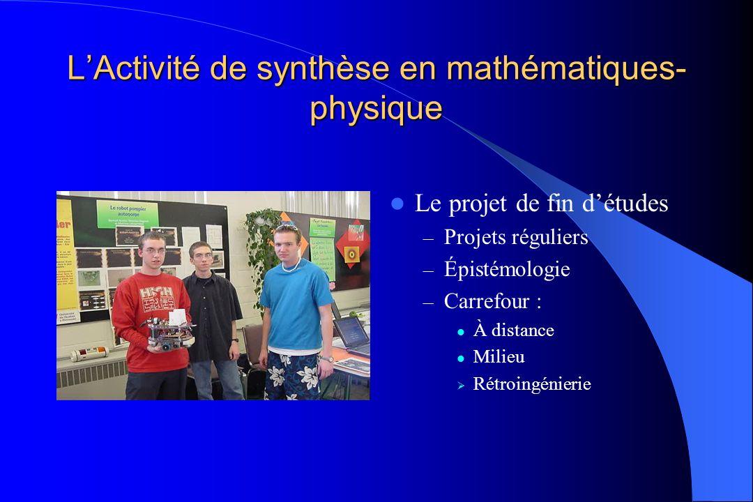 LActivité de synthèse en mathématiques- physique Le projet de fin détudes – Projets réguliers – Épistémologie – Carrefour : À distance Milieu Rétroing