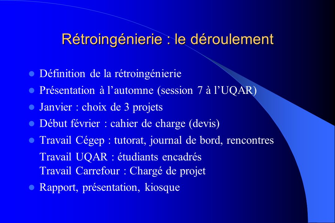 Rétroingénierie : le déroulement Définition de la rétroingénierie Présentation à lautomne (session 7 à lUQAR) Janvier : choix de 3 projets Début févri