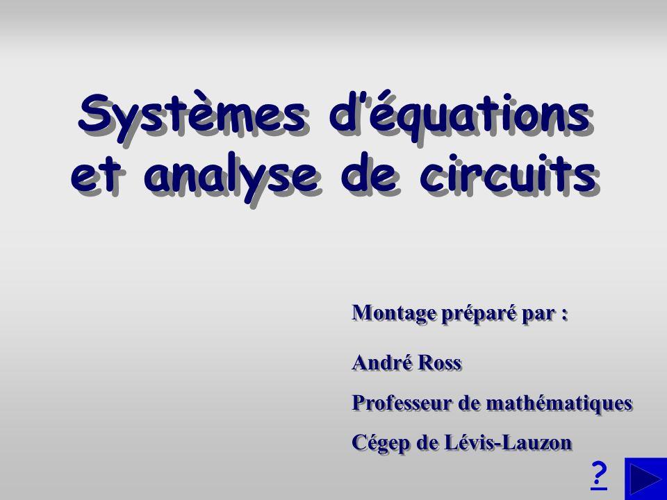 Montage préparé par : André Ross Professeur de mathématiques Cégep de Lévis-Lauzon André Ross Professeur de mathématiques Cégep de Lévis-Lauzon ? Syst