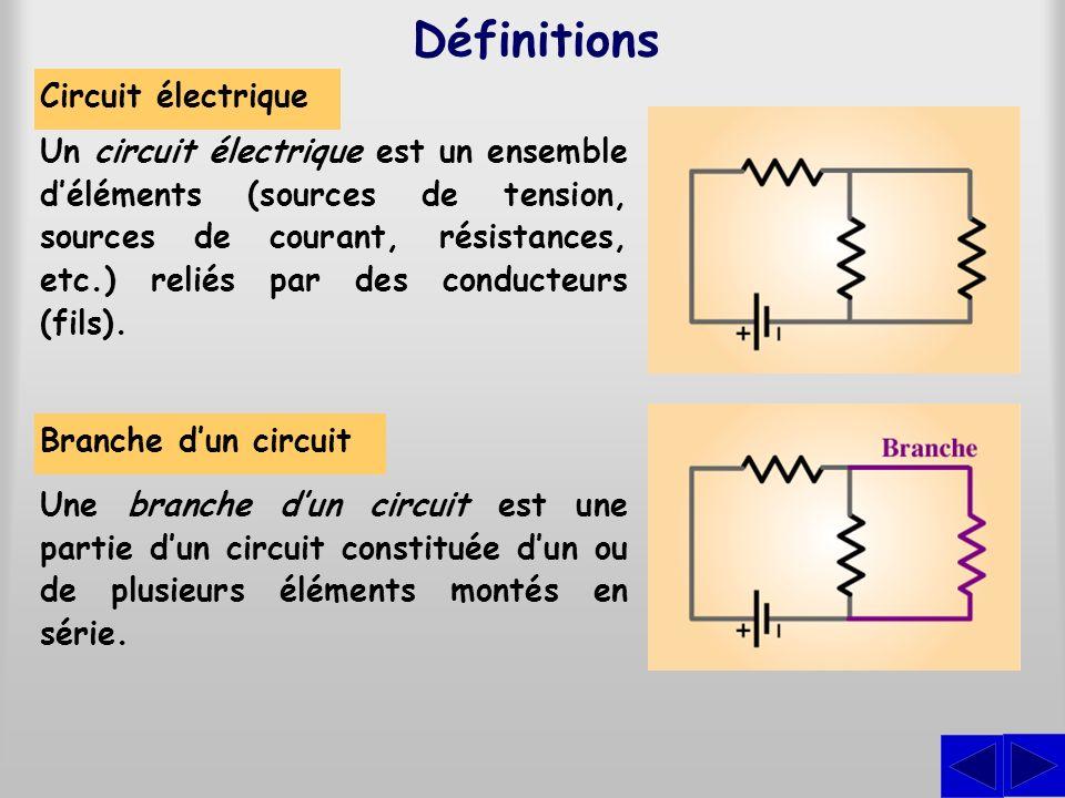 Circuit électrique Définitions Un circuit électrique est un ensemble déléments (sources de tension, sources de courant, résistances, etc.) reliés par