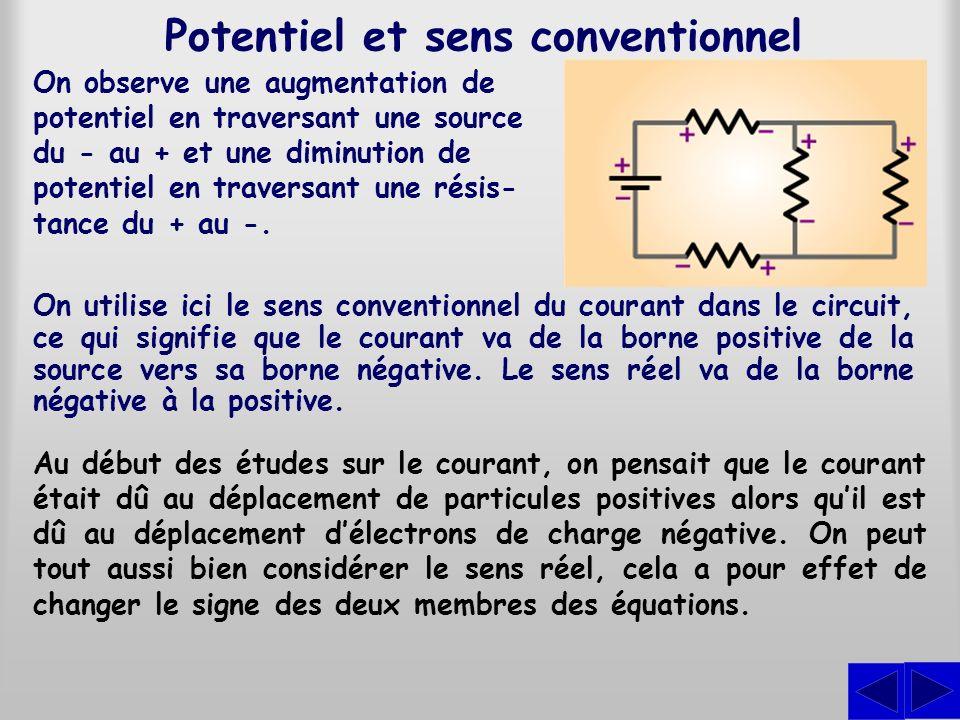 Potentiel et sens conventionnel On observe une augmentation de potentiel en traversant une source du - au + et une diminution de potentiel en traversa