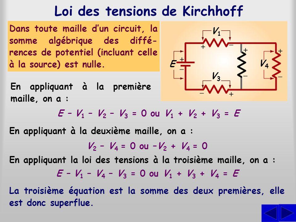 Loi des tensions de Kirchhoff Dans toute maille dun circuit, la somme algébrique des diffé- rences de potentiel (incluant celle à la source) est nulle