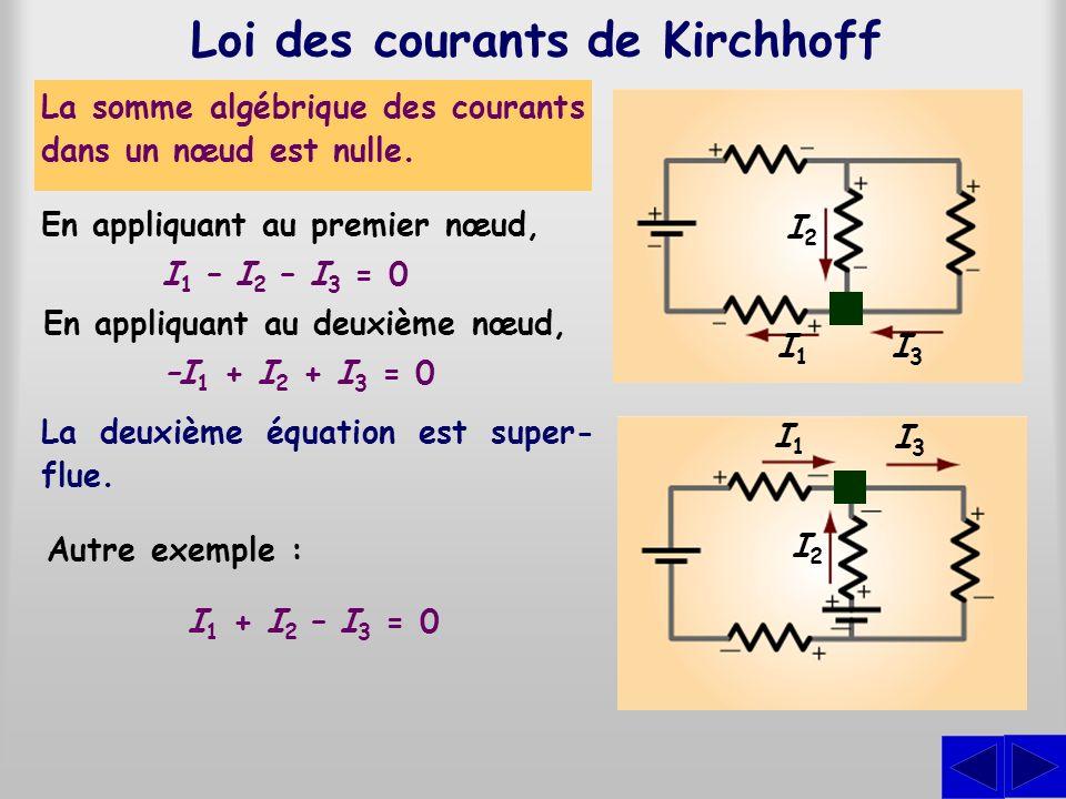 Loi des courants de Kirchhoff La somme algébrique des courants dans un nœud est nulle. I 1 – I 2 – I 3 = 0 I1I1 I3I3 I2I2 I2I2 I3I3 I1I1 En appliquant