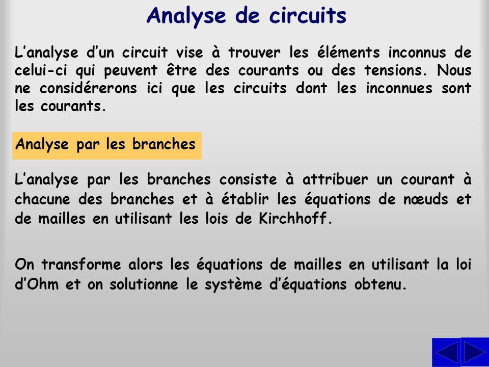 Analyse de circuits Lanalyse dun circuit vise à trouver les éléments inconnus de celui-ci qui peuvent être des courants ou des tensions. Nous ne consi