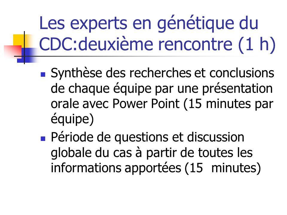 Les experts en génétique du CDC:deuxième rencontre (1 h) Synthèse des recherches et conclusions de chaque équipe par une présentation orale avec Power