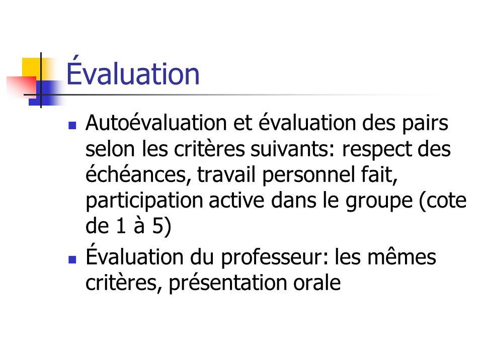 Évaluation Autoévaluation et évaluation des pairs selon les critères suivants: respect des échéances, travail personnel fait, participation active dan
