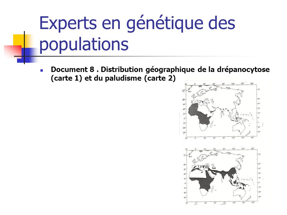 Experts en génétique des populations Document 8. Distribution géographique de la drépanocytose (carte 1) et du paludisme (carte 2)