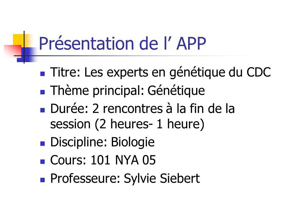 Présentation de l APP Titre: Les experts en génétique du CDC Thème principal: Génétique Durée: 2 rencontres à la fin de la session (2 heures- 1 heure)