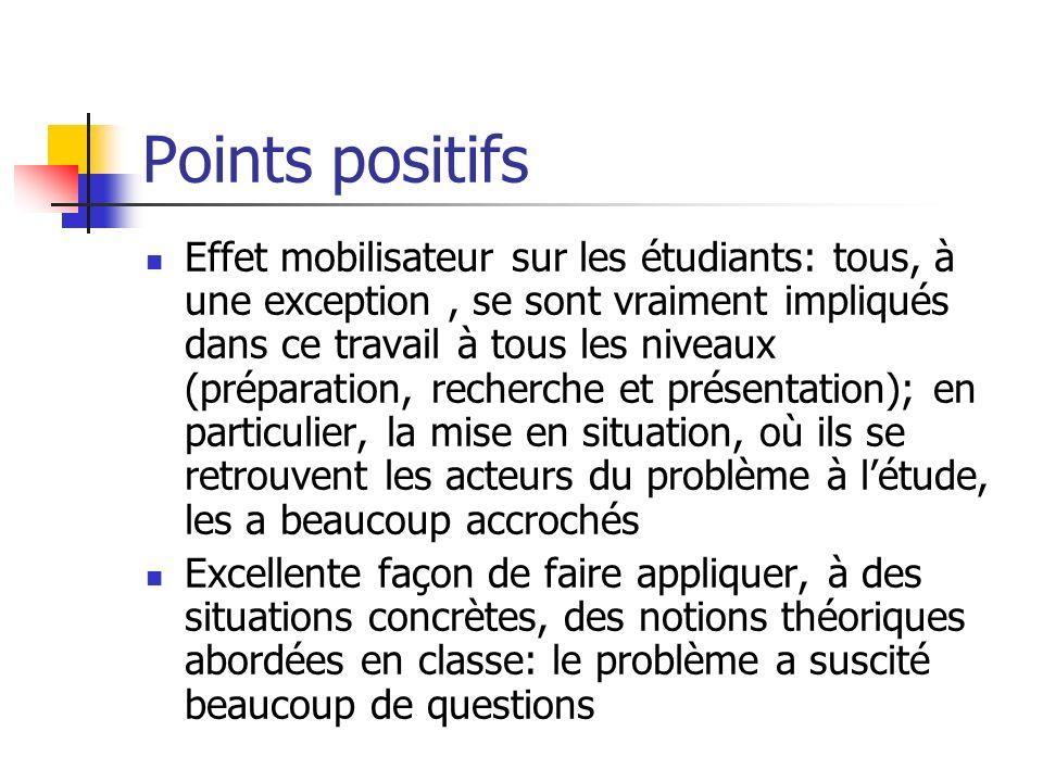 Points positifs Effet mobilisateur sur les étudiants: tous, à une exception, se sont vraiment impliqués dans ce travail à tous les niveaux (préparatio