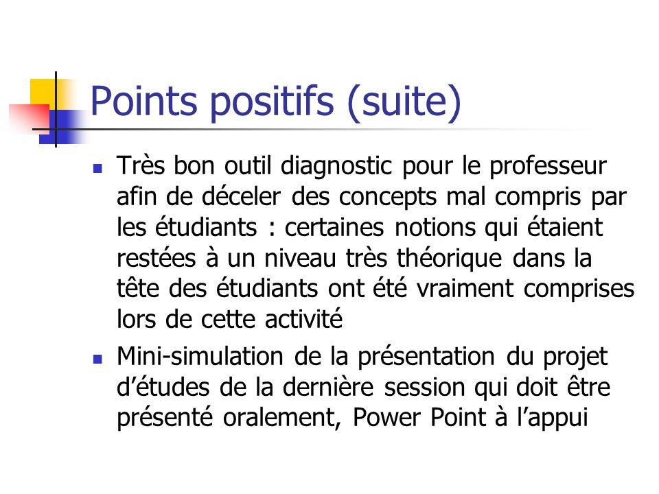 Points positifs (suite) Très bon outil diagnostic pour le professeur afin de déceler des concepts mal compris par les étudiants : certaines notions qu