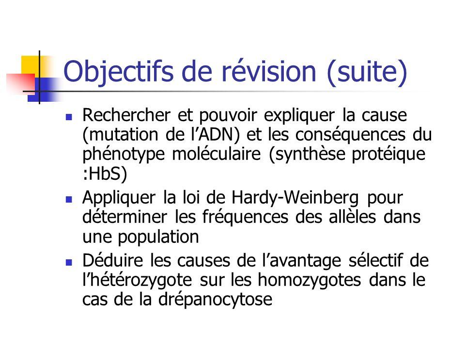 Objectifs de révision (suite) Rechercher et pouvoir expliquer la cause (mutation de lADN) et les conséquences du phénotype moléculaire (synthèse proté