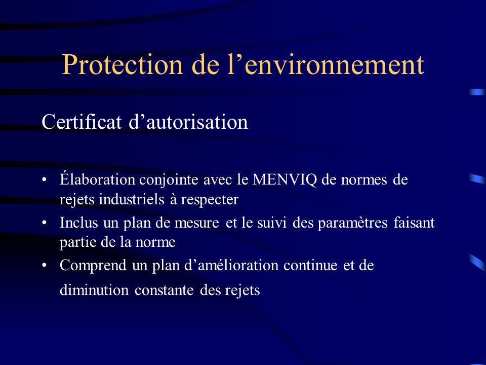 Protection de lenvironnement Certificat dautorisation Élaboration conjointe avec le MENVIQ de normes de rejets industriels à respecter Inclus un plan