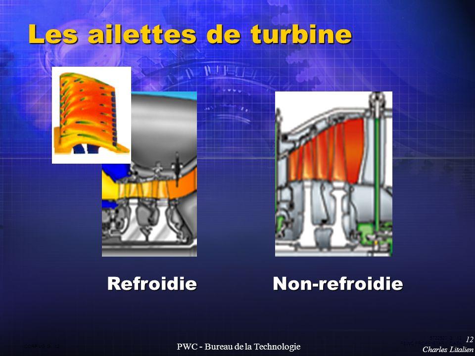 CORP VG G 12 5722520 G 12 P&WC PROPRIETARY DATA 12 Charles Litalien PWC - Bureau de la Technologie Les ailettes de turbine RefroidieNon-refroidie