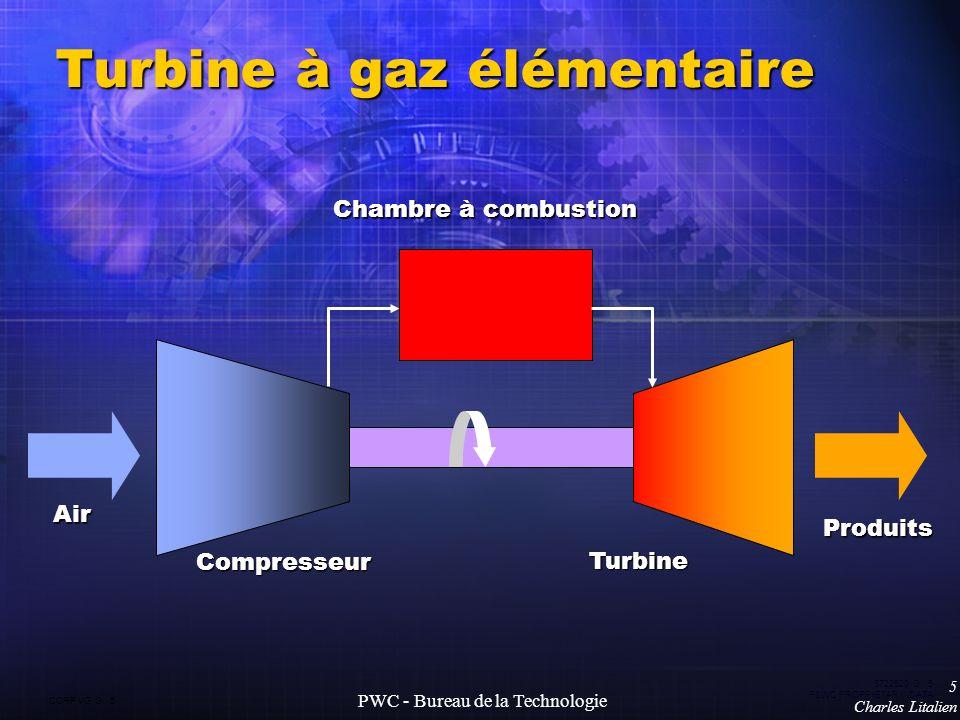 CORP VG G 5 5722520 G 5 P&WC PROPRIETARY DATA 5 Charles Litalien PWC - Bureau de la Technologie Turbine à gaz élémentaire Air Produits Chambre à combustion Compresseur Turbine