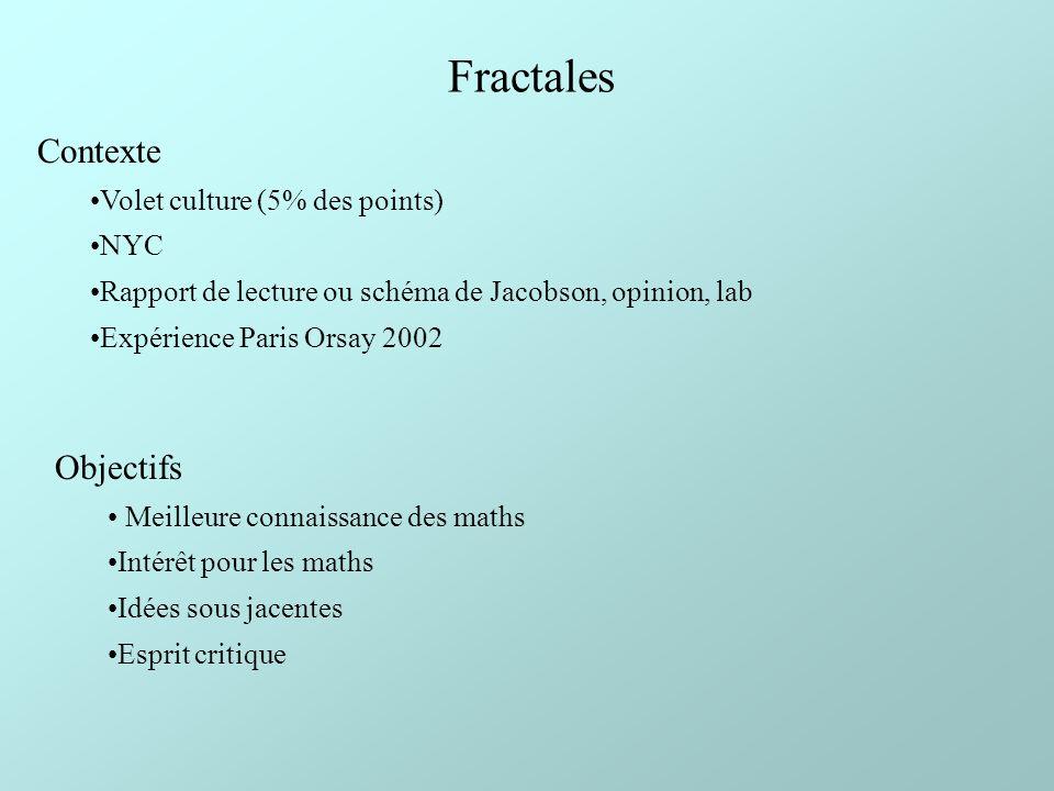 Fractales Contexte Volet culture (5% des points) NYC Rapport de lecture ou schéma de Jacobson, opinion, lab Expérience Paris Orsay 2002 Objectifs Meil
