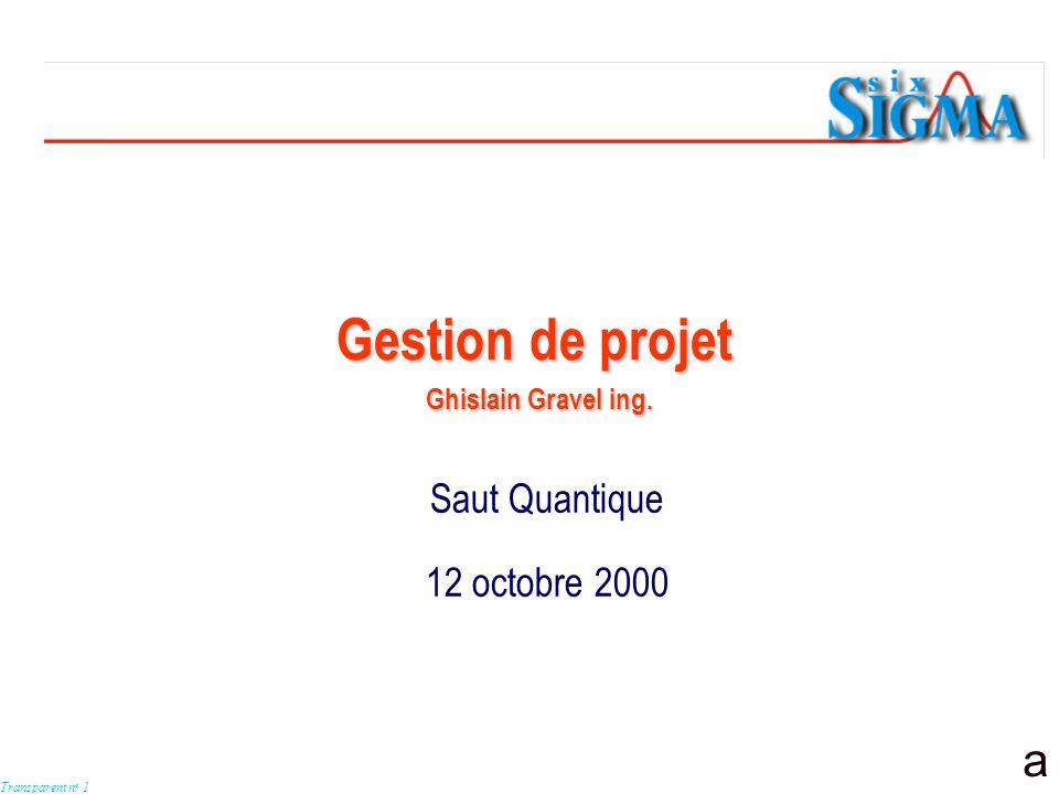 a Transparent n o 1 Saut Quantique 12 octobre 2000 Gestion de projet Ghislain Gravel ing.
