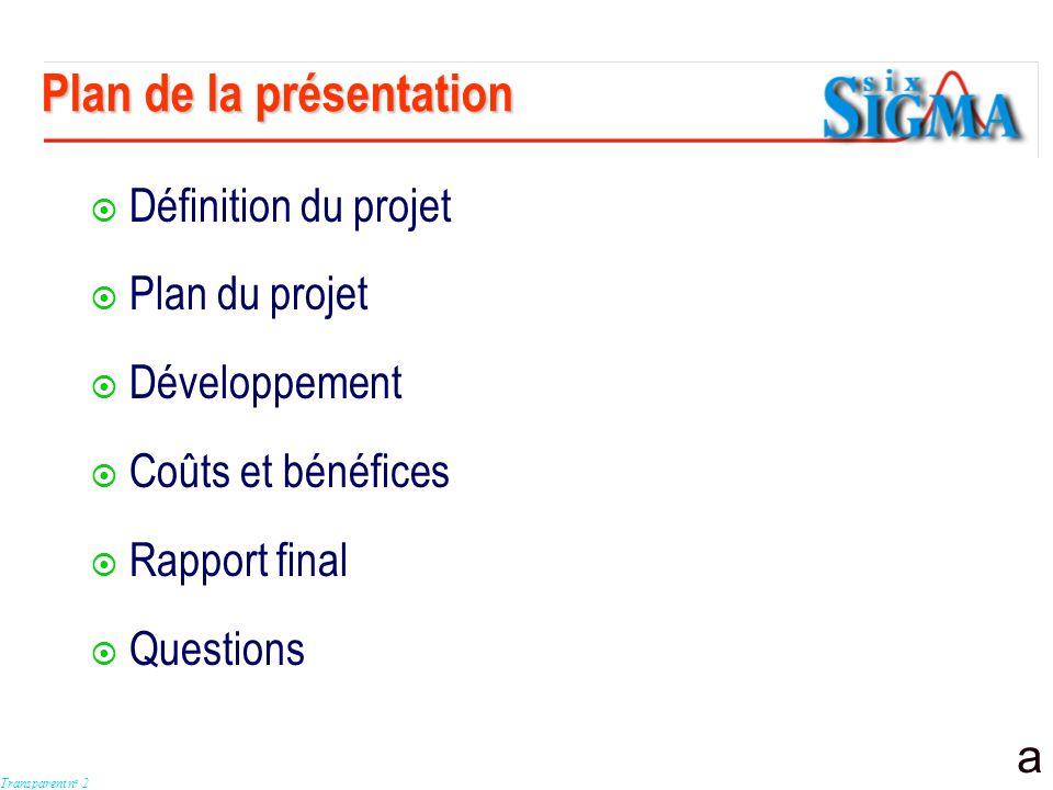 a Transparent n o 2 Définition du projet Plan du projet Développement Coûts et bénéfices Rapport final Questions Plan de la présentation