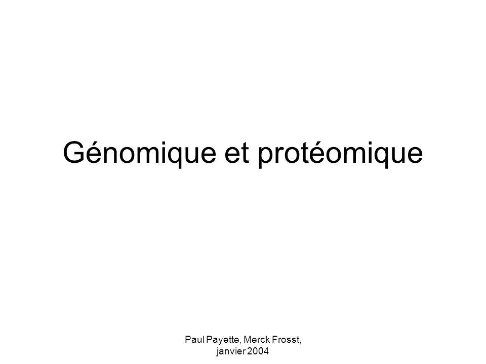 Paul Payette, Merck Frosst, janvier 2004 Génomique et protéomique